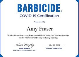 Amy Fraser Barbicide Covid19 Certificate