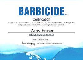 Amy Fraser Barbicide certificate