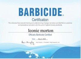 Barbicide Certificate_Leonie_Morton