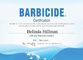 Belinda Hillman Barbicide Certificate