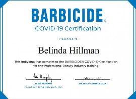 Belinda Hillman Barbicide Covid19 Certificate