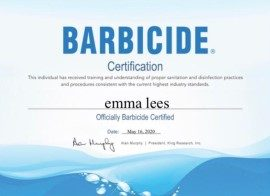 Emma Lees Barbicide Certificate