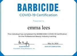Emma Lees Covid 19 Barbicide Certificate